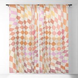 Orange, Yellow & Pink  Swirl Checker Sheer Curtain