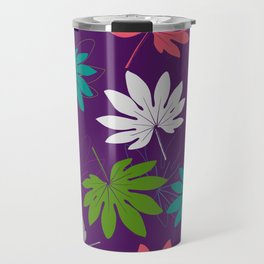 Purple tropical leaves Travel Mug