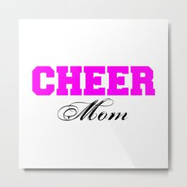 Cheer Mom Typography in Pink and Black Metal Print