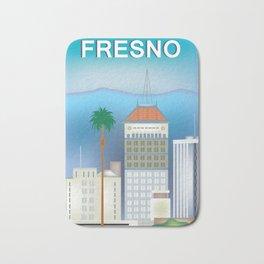 Fresno, California - Skyline Illustration by Loose Petals Bath Mat