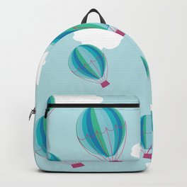 Hot air balloons and clouds - blue Backpack