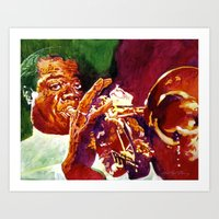 louis armstrong Art Prints featuring Louis Armstrong Wonderful World by David Lloyd Glover
