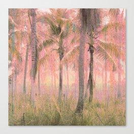 Retro Glitch Boho Tropical Ancient Palm Forest Canvas Print