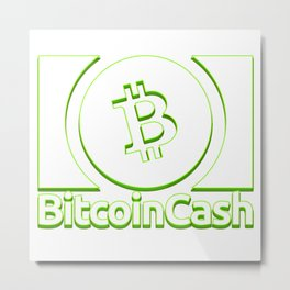 Bitcoin Cash BCH White With Green Effect 1 Logo Metal Print