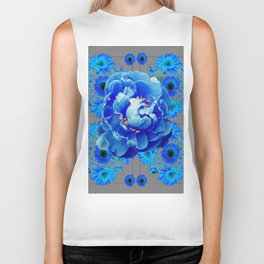 Baby Blue & Charcoal Grey Floral  Abstract Art Biker Tank