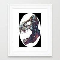 trex Framed Art Prints featuring Galaxy trex by Fallen amongst the wolves