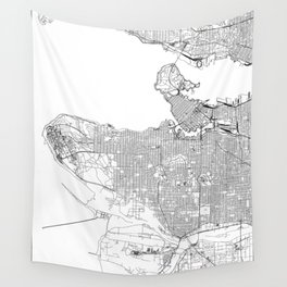 Vancouver White Map Wall Tapestry
