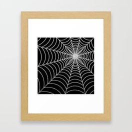 Spiderweb | Silver Glitter Framed Art Print