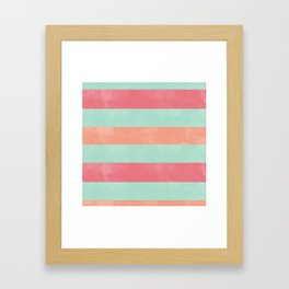 Oui Oui Mon Cheri Throw Pillow with Mint and Pink Stripes Framed Art Print