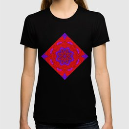 Red Lace on Purple T-shirt
