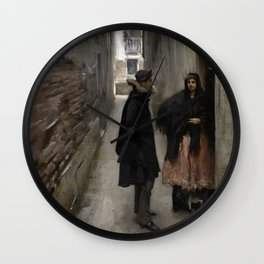 A Street in Venice by John Singer Sargent - Vintage Fine Art Oil Painting Wall Clock