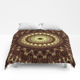 Detailed mandala in brown and golden tones Comforters
