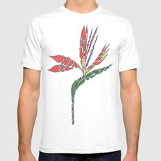 Bird of Paradise White MEDIUM Mens Fitted Tee