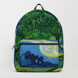 Olive Trees by Vincent Van Gogh Oil Painting Backpack
