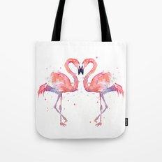 Pink Flamingo Love Two Flamingos Tote Bag