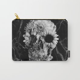 Floral Marble Skull Carry-All Pouch