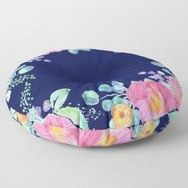 pink peonies with navy background Floor Pillow