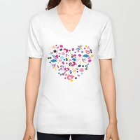 sticker V-neck T-shirts featuring Sticker Frenzy by XOOXOO