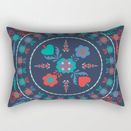 Folk Flowers with Red Border Rectangular Pillow