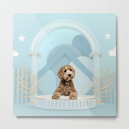 Goldendoodle Baby Blue Photo Collage Metal Print