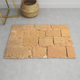 Close up view of an ancient smooth textured brick wall Rug