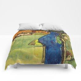 "Egon Schiele ""Stadt am blauen Fluss (Town on the blue river)"" Comforters"