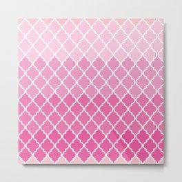 Ombre Moroccan Trellis, Latticework - Pink White  Metal Print