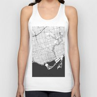 toronto Tank Tops featuring Toronto Map Gray by City Art Posters