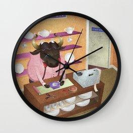 A-Z Animal, Bull Sales Person - Illustration Wall Clock