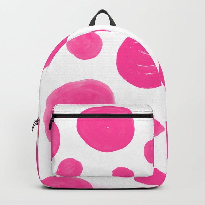 Pink handdrawn dots - Polkadot pattern on white on #Society6 Backpack