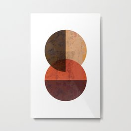 Terracotta Mid Century Abstract Circle Metal Print