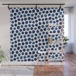 Large Indigo/Blue Watercolor Polka Dot Pattern Wall Mural