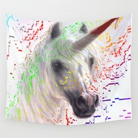 unicorn Wall Tapestries featuring unicorn by Vector Art