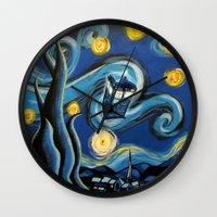 targaryen Wall Clocks featuring Tardis Starry Night by DavinciArt