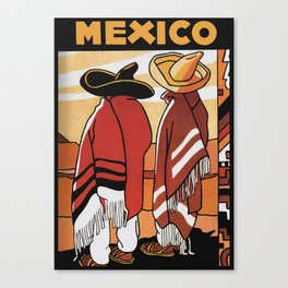 Mexico Travel - Men in Sombrero and Poncho Canvas Print