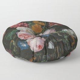 Still life with flowers in a glass vase, Jan Davidsz. de Heem, 1650 - 1683 Floor Pillow