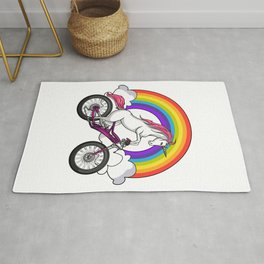 Unicorn Riding Bicycle Cycling Rainbow Rug