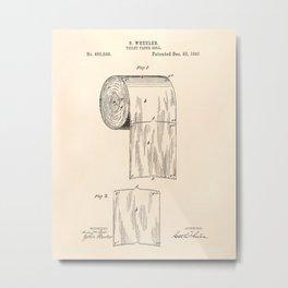 Toilet Paper Roll 1891 Patent Art Illustration Oldpaper Metal Print