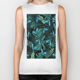 Tropical Butterfly Jungle Night Leaves Pattern #5 #tropical #decor #art #society6 Biker Tank