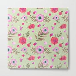 Modern pink lavender watercolor geometric floral Metal Print