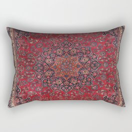 Old Century Persia Authentic Colorful Purple Blue Red Star Blooms Vintage Rug Pattern Rectangular Pillow