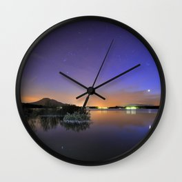 Venus, Orion, Taurus and the Pleiades reflected at the lake Wall Clock