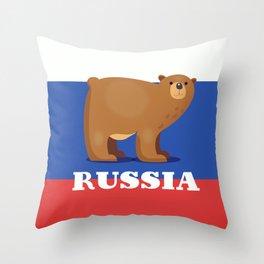 Russian bear cartoon travel poster Throw Pillow