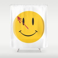 watchmen Shower Curtains featuring Who watches the watchmen?  by Vickn