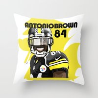 steelers Throw Pillows featuring Antonio Brown  by MikeHanz