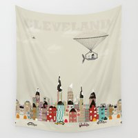 ohio Wall Tapestries featuring visit cleveland ohio by bri.buckley