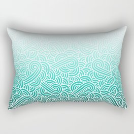 Faded teal blue and white swirls doodles Rectangular Pillow