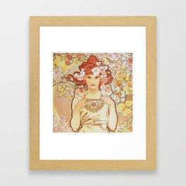 Rose by Alphonse Mucha 1897 // Vintage Girl with Red Hair Floral Love Design Framed Art Print