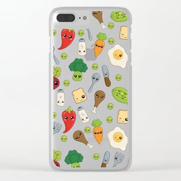 Cute Kawaii Food Pattern Clear iPhone Case