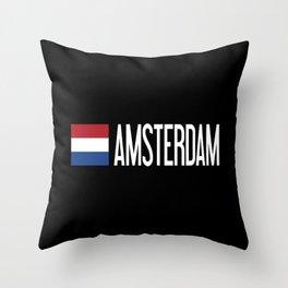 Netherlands: Dutch Flag & Amsterdam Throw Pillow